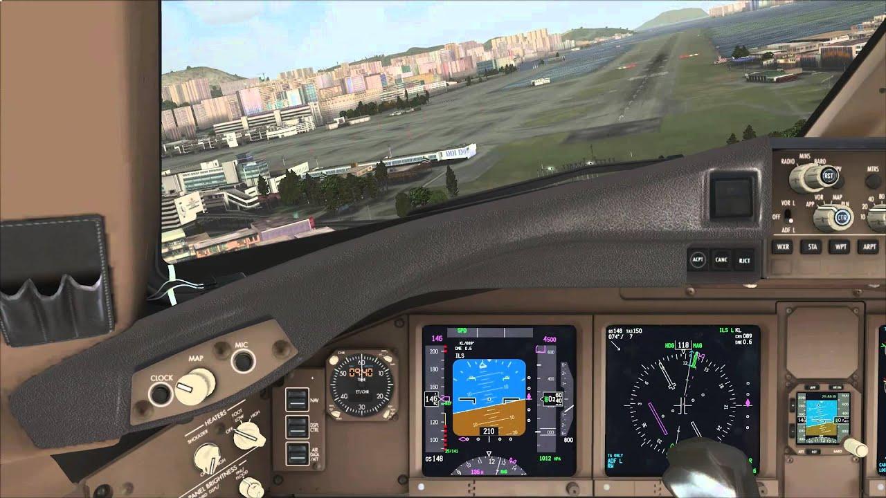 PMDG 777 Landing at Hong Kong Kai Tak [HD]