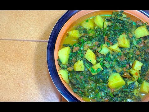 Spinach Potato Curry - Saag Aloo - Vegan Recipes - Indian Vegetarian - Sag Aloo - Palak Aloo