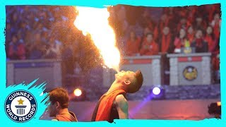 Most flames blown in one minute - Guinness World Records