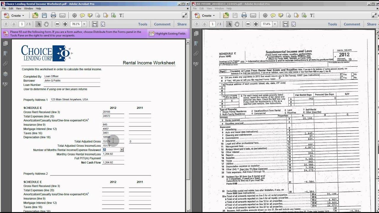 Rental Worksheet