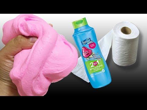 No Glue Paper Slime!, Amazing Paper Shampoo and Salt Slime Recipe, No Borax,No Liquid Starch !