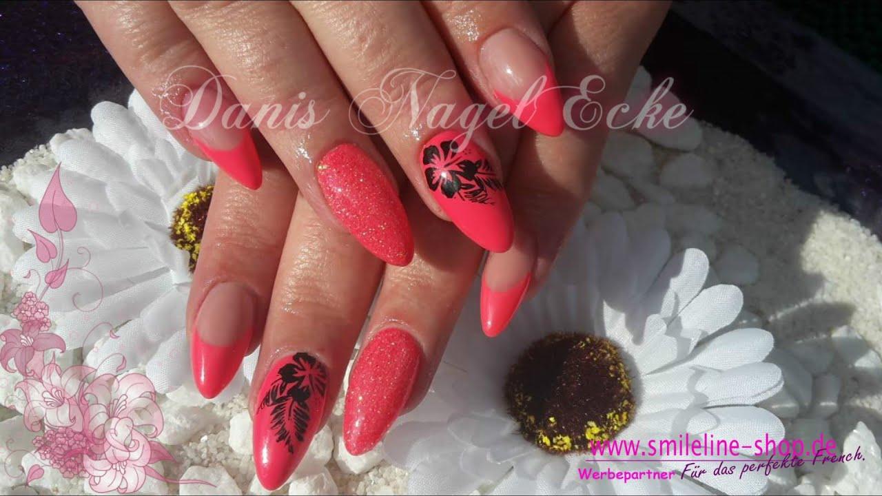 Gelnagel Hot Sommer Mit Glitzer Hot Summer Almond Nails Youtube