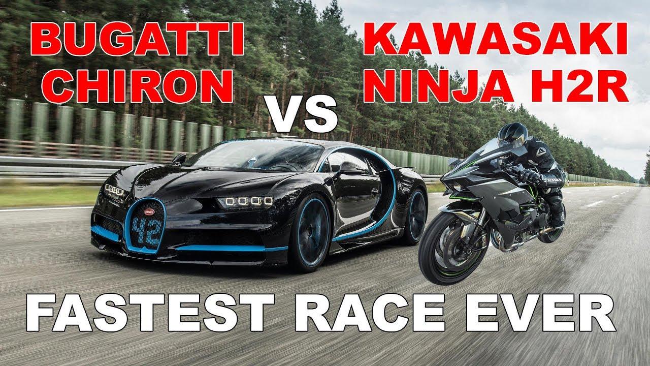 Kawasaki Ninja H2r >> Bugatti Chiron vs Kawasaki Ninja H2R - YouTube