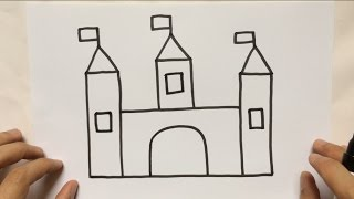 TUTORIAL TEACHING WITH KIDS, HOW TO DRAW CASTLE
