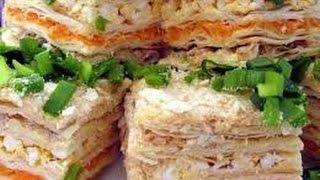 """Торт закусочный """"Наполеон"""" с рыбной консервой- Оочень вкусный"""