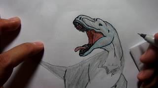 สอนวาดรูป ระบายสี ไดโนเสาร์ อัลโลซอรัส โดย พี่คิง