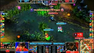 SKT T1 (Piglet Ezreal) VS NJS (Expression Jax) Game 1 Semi Final Highlights - S3 World