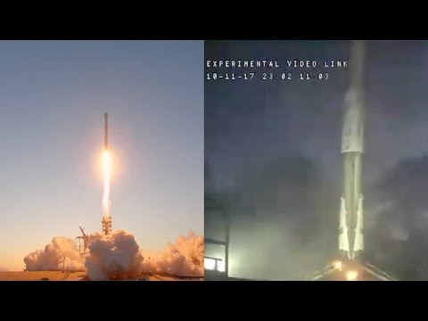 spacex falcon 9 launches echostar 105 ses 11 falcon 9 first stage landing 11 october 2017