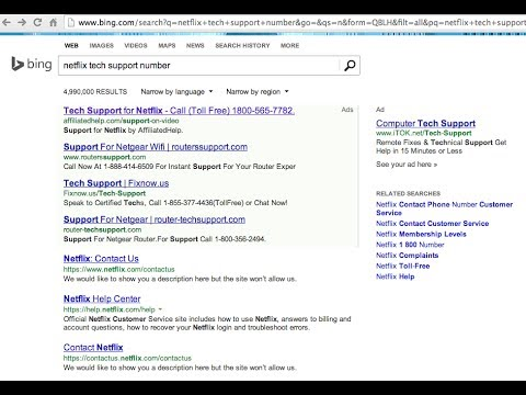 Ad for Netflix on Bing leads to tech support scam
