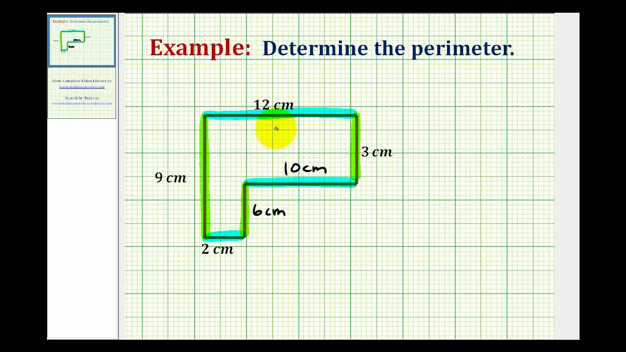 medium resolution of Ex: Find the Perimeter of an L-shaped Polygon Involving Whole Numbers -  YouTube
