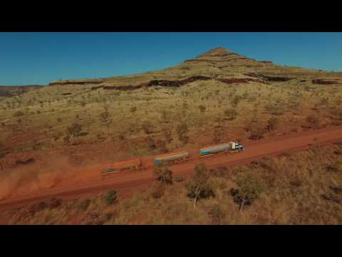 Centurion triple fuel road train at South Fortescue River. 0238