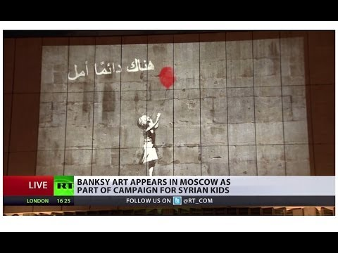 Syrian art by Banksy displays in Moscow