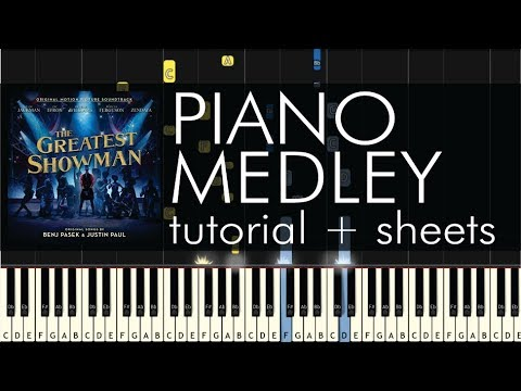 The Greatest Showman  - Piano Medley (All Songs) - Tutorial + Sheets