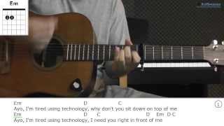 How to play Ayo Technology with Milow (Guitar lesson)