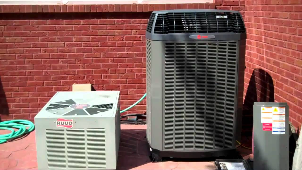 how a new trane 16i sounds compared to an older 10 seer ruud.. - youtube