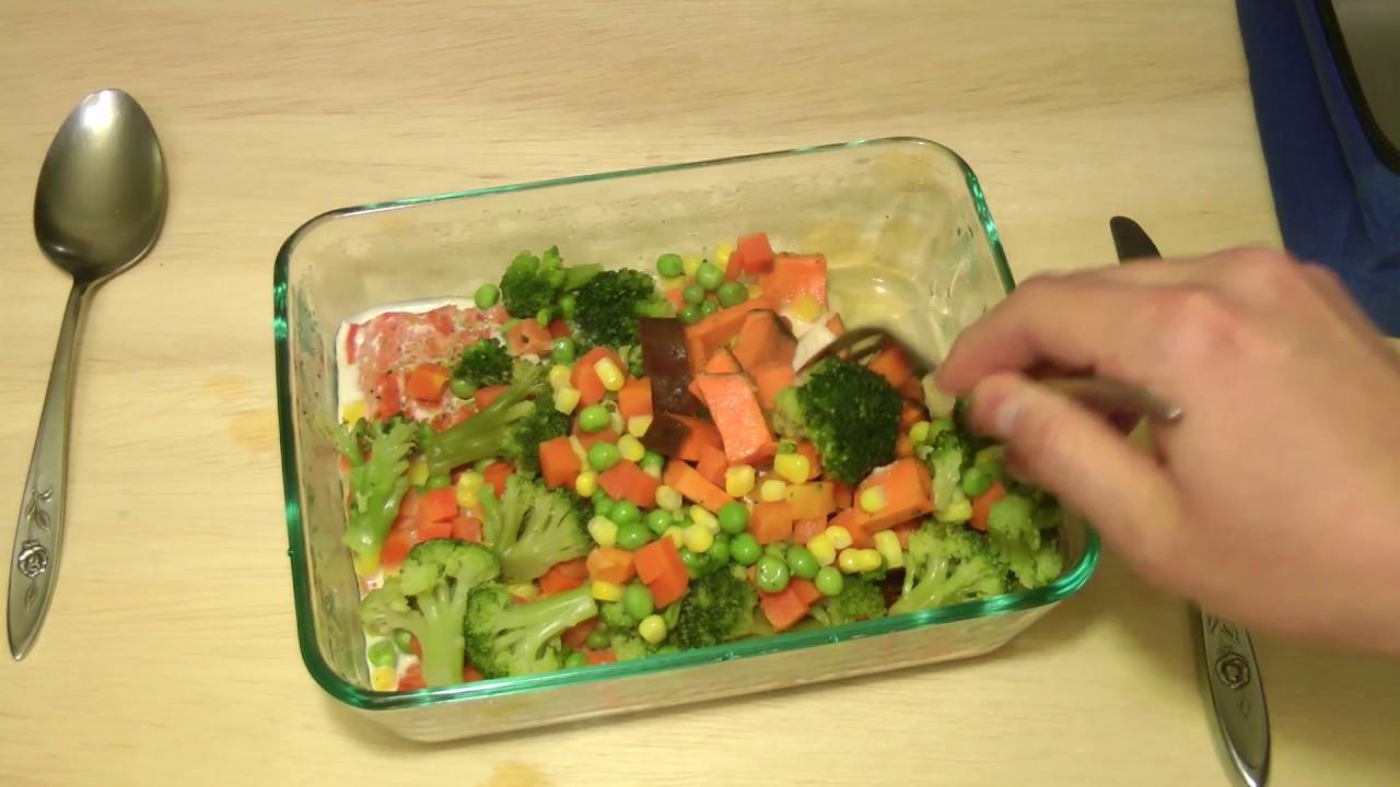 Hot Logic Mini - Raw Salmon, Frozen Mixed Veggies, and Raw ...