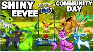 SHINY EEVEE COMMUNITY DAY IN POKEMON GO | ALL SHINY EEVEE EVOLUTIONS | ALOLAN GOLEM