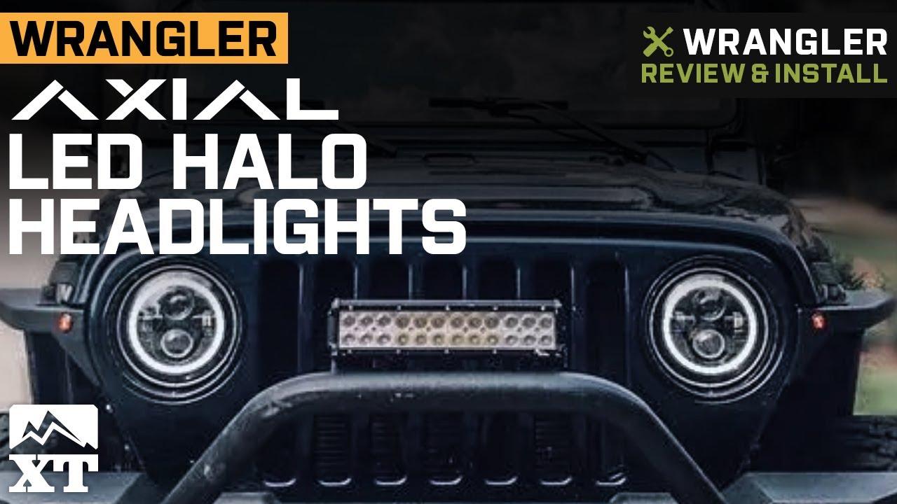 Jeep Halo Headlights >> Axial Led Halo Headlights W Drl Amber Turn Signals 97 18 Jeep Wrangler Tj Jk