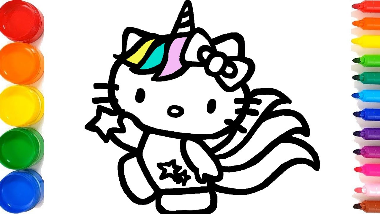 Glitter Unicorn Princess Hello Kitty Coloring and Drawing ...