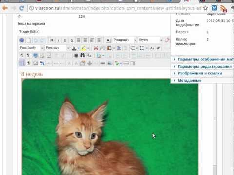 Основы работы в редакторе JCE, Joomla 2.5 RUS