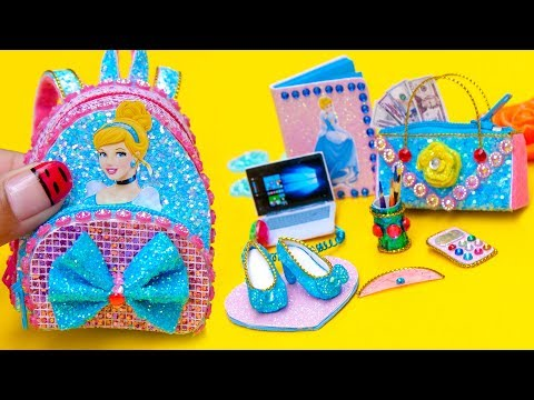 DIY Miniature Cinderella School Supplies ~ Backpack, Glitter Notebook, Pencil Case