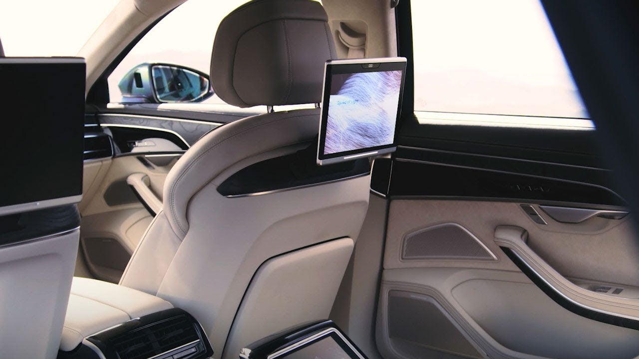 audi a8 l 2019 rear seat entertainment guided tour. Black Bedroom Furniture Sets. Home Design Ideas