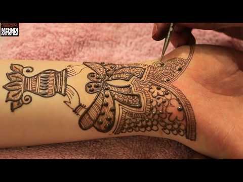 Kalash With Dulha Dulhan Hands Bridal Mehndi Design | Traditional Mehendi 2017