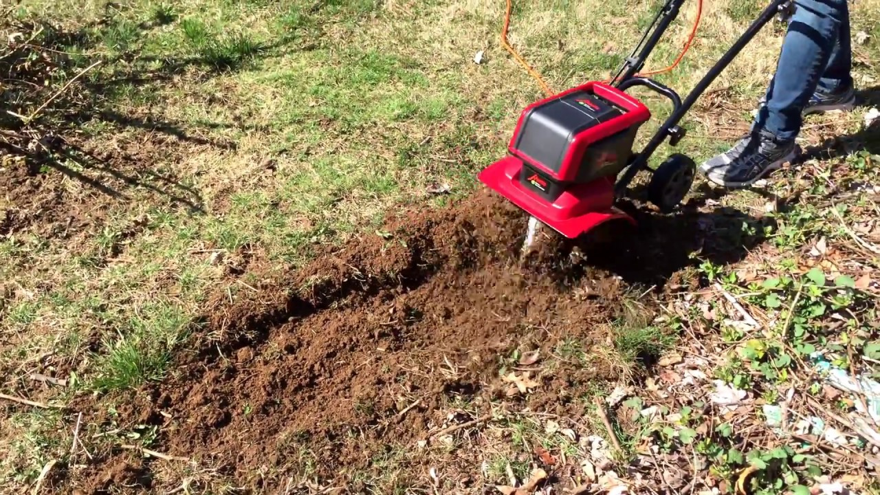 Mantis Electric Tiller Digs Up Dead Spots In Lawn - YouTube