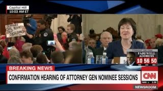 Lunatic Members of Code Pink Removed From Sen Jeff Sessions Confirmation Hearings Free HD Video