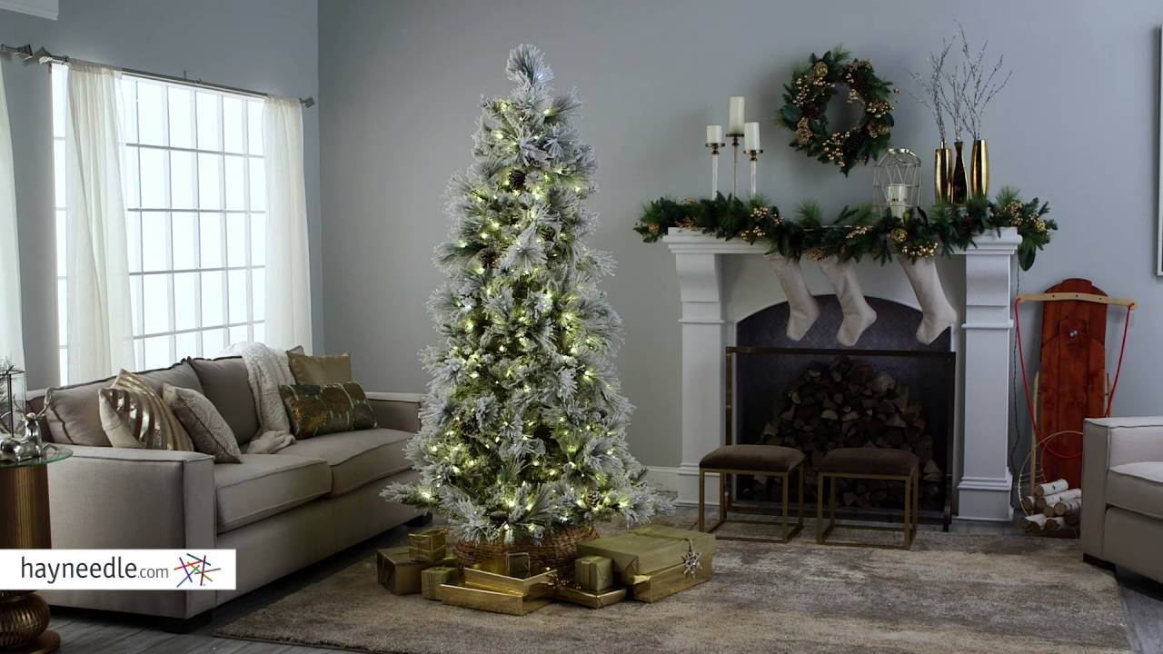 Lightly Flocked Snowbell Pine Pre-Lit Full Christmas Tree - Product ...