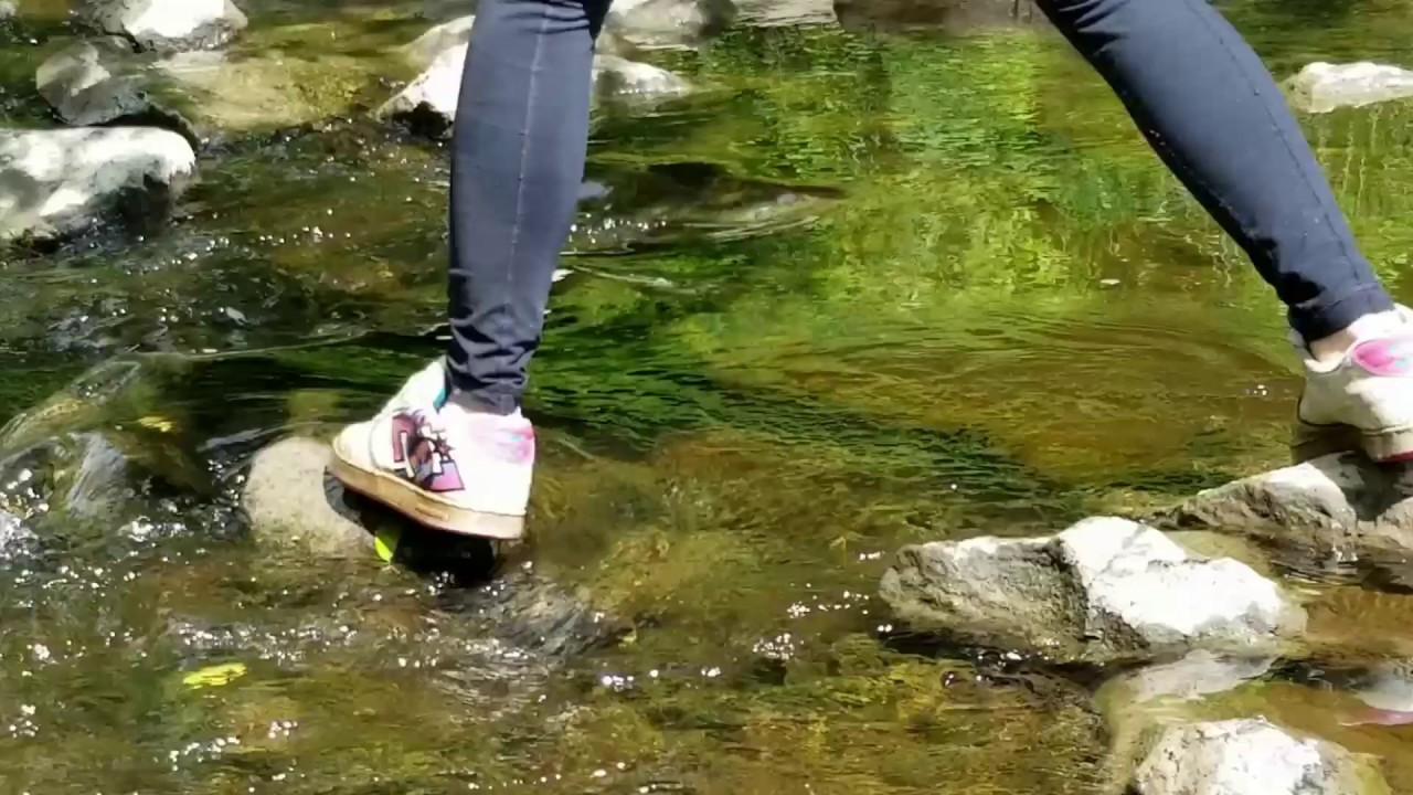 Girl wet dc shoes in river - YouTube