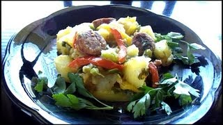 Smothered Potatoes With Sausage, Onions, And Peppers