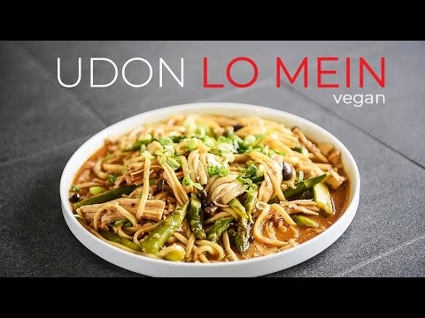 UDON NOODLES LO MEIN RECIPE | EASY VEGAN ASIAN DISH (撈麵/撈麪(捞面))