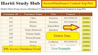 Delete Data Using AccessDataSource Control in Asp.Net C#   MS Access Database   Hindi   Tutorial