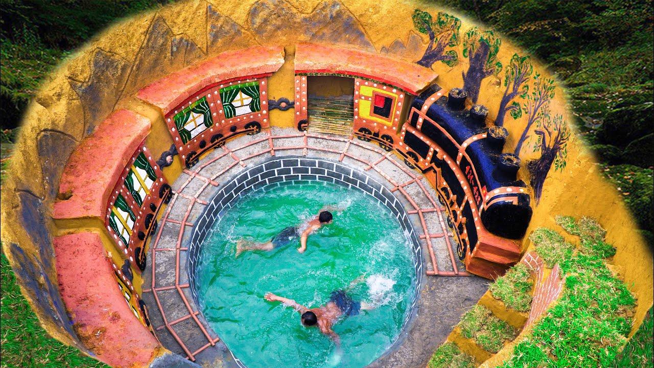 Build Train-Shaped Underground House Around Underground Swimming Pools With Great Skills