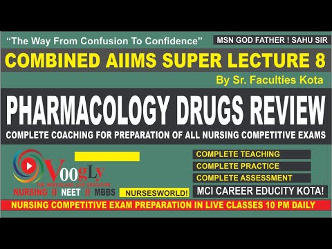 PHARMACOLOGY DRUGS REVIEW #VOOGLY Powered by #MCI CAREER INST KOTA Founded by Ashok sahu sir HOD MS