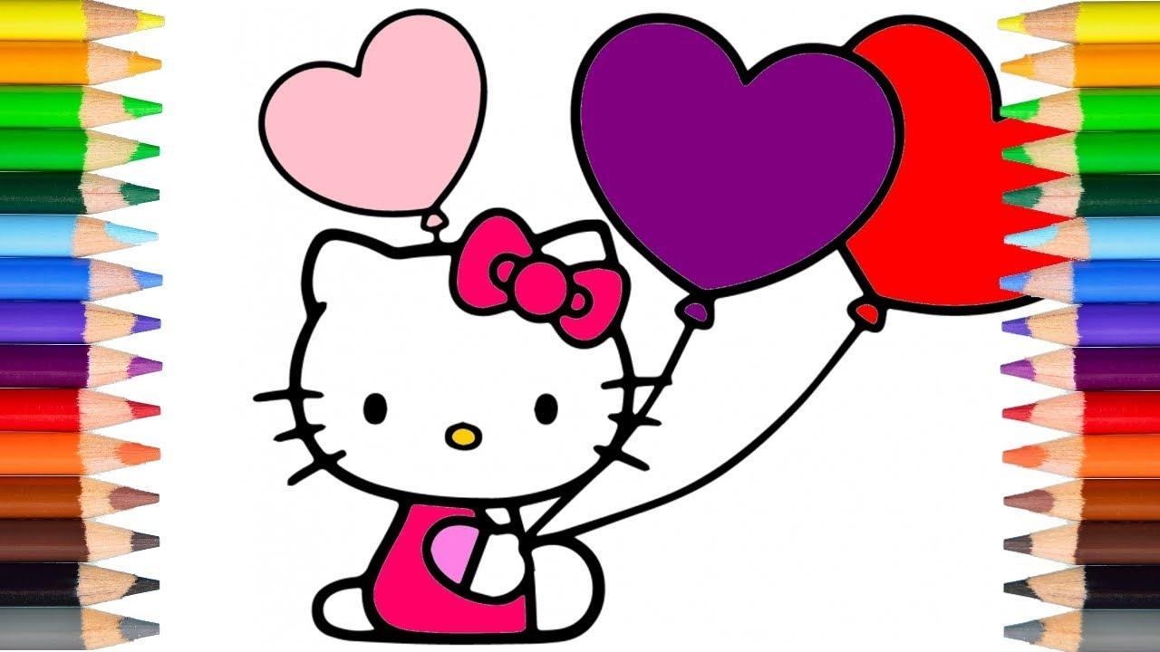 Kleurplaten Hello Kitty Inkleuren.Hello Kitty Met Hartjesballonnen Inkleuren Leer De Kleuren Youtube