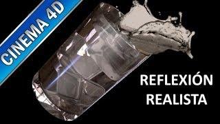 Iluminación y reflexión realista - cinema 4d - vaso con agua y hielos