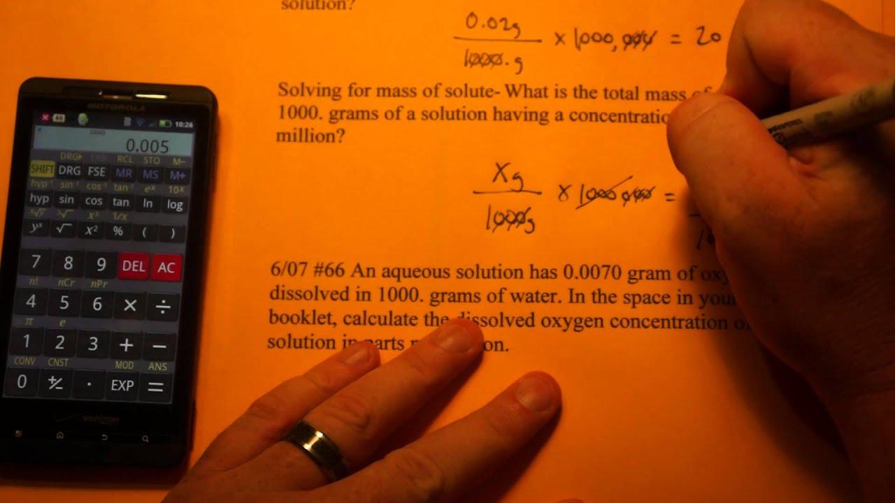 Calculating Part Per Million Ppm