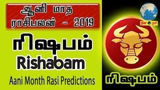 Aani Matha Rasi palan 2019 | Rishabam (Taurus) | ரிஷபம் | ஆனி | June Month Predictions