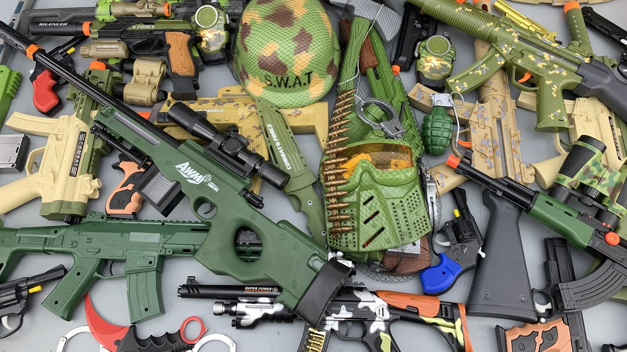 Military Toy Weapon Collections ! Sniper Rifle AWM, Shotguns, Assault Rifle Toys