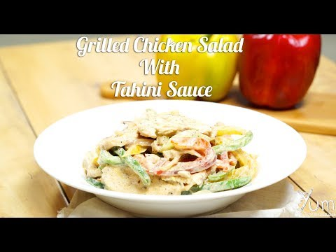 Grilled Chicken Salad With Tahini Sauce | How To Make Grilled Chicken Salad With Tahini Sauce Recipe