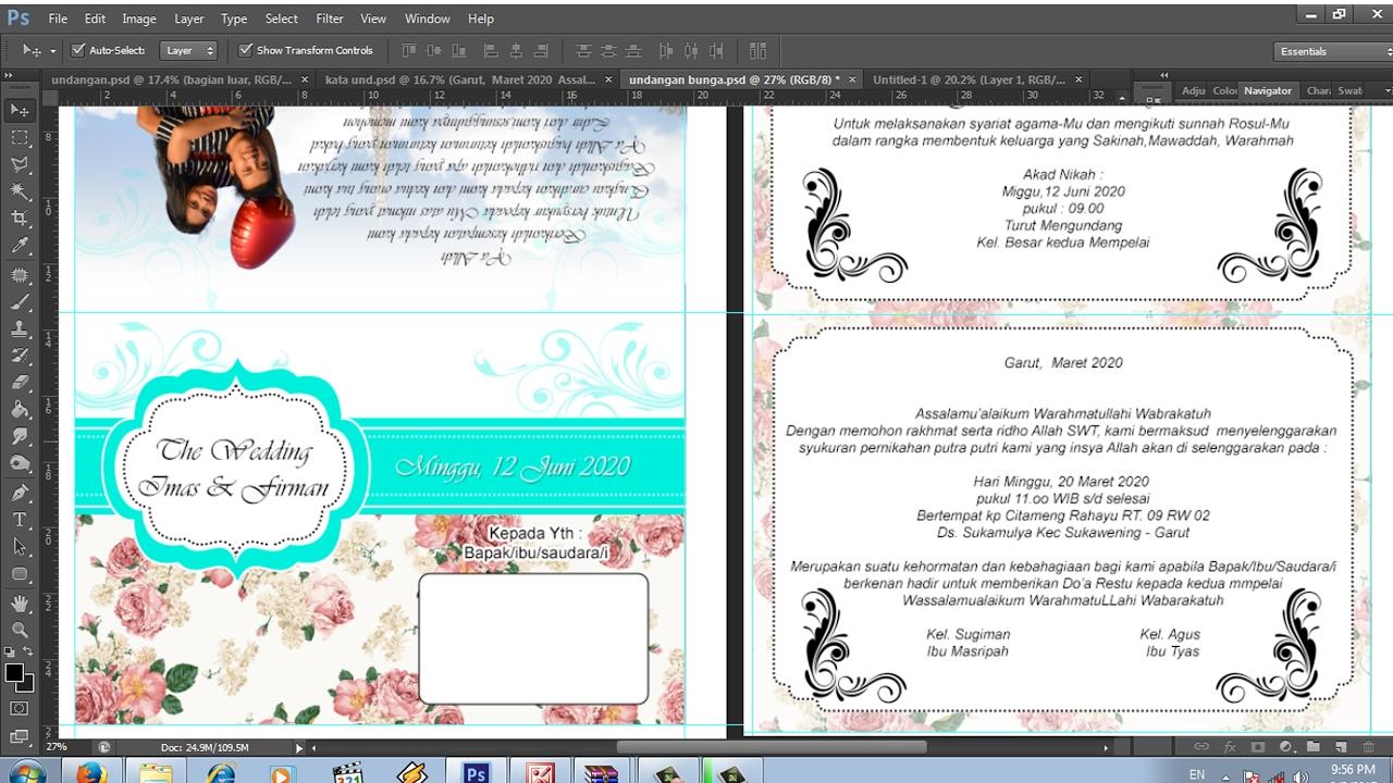 Desain Surat Undangan Pernikahan Vintage Effek Bunga