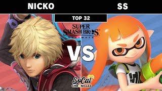 Smash Ultimate Tournament - Nicko (Shulk) vs SS (Inkling) Winners Top 64 - Socal Chronicles