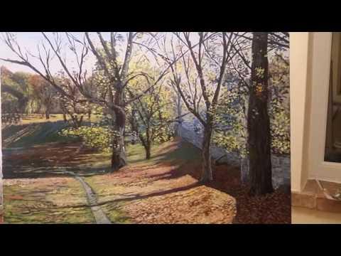 Autumn scene landscape acrylic painting -time lapse – Landscape #1