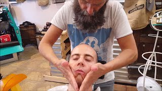 Old School Italian Barber - shave with shavette, hot towel and massage  - ASMR intentional