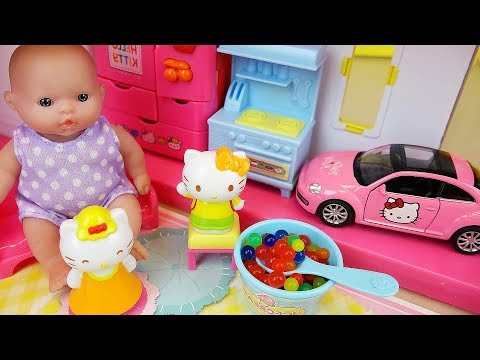 Thumbnail: Baby doll and Hello kitty 2 story house and car toys play