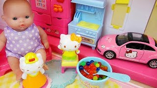 Baby doll Hello kitty 2 story house and car toys play
