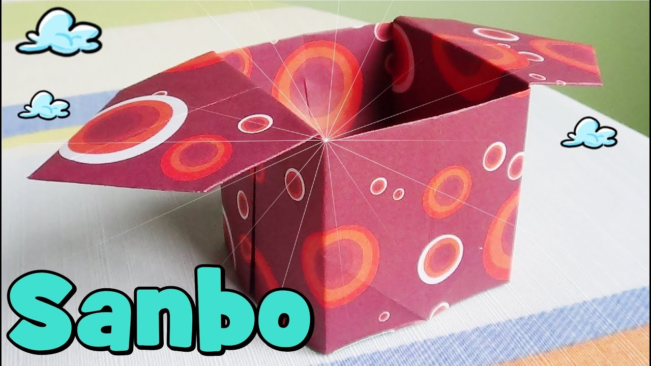 Caja de papel origami sanbo youtube - Cajas forradas de papel ...