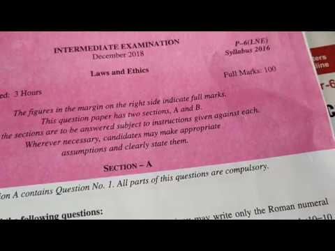 CMA Inter December 2018 law and ethics objective questions and answers